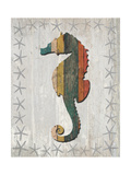 Distressed Wood Style Seahorse 1 Prints by Fab Funky