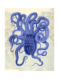 Blue Octopus 2 on Nautical Map Poster van Fab Funky