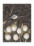 Chickadee & Tulips I Art by Jade Reynolds