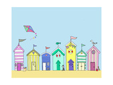 Beach Huts In a Row Art by Fab Funky