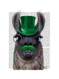 Llama With Green Top Hat and Moustache Prints by Fab Funky
