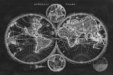Charcoal World Map Plakater av  Studio W