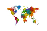 Map of the World Map Watercolor Prints by Michael Tompsett
