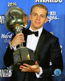 Patrick Kane with the 2016 Hart Trophy Photo