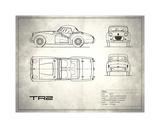 Triumph TR2 White Giclee Print by Mark Rogan