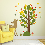 Woodland Theme Nursery Height Chart Wall Decal