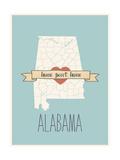 Alabama State Map, Home Sweet Home Art by Lila Fe