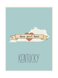 Kentucky State Map, Home Sweet Home Art by Lila Fe