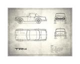 Triumph TR4 White Giclee Print by Mark Rogan