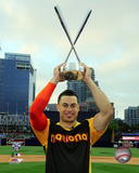 Giancarlo Stanton with the 2016 MLB All-Star Game Home Run Derby Champion Trophy Photo