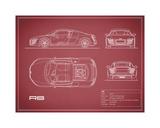 Audi R8 V10-Maroon Giclee Print by Mark Rogan