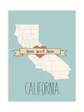 California State Map, Home Sweet Home Prints by Lila Fe