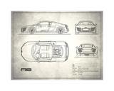 Audi R8 V10 White Giclee Print by Mark Rogan