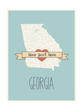 Georgia State Map, Home Sweet Home Poster by Lila Fe