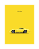 Chev Corvette Yellow Lámina giclée por Mark Rogan