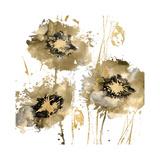 Flower Burst Trio in Gold Giclee Print by Vanessa Austin