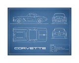 Corvette 33BHP-Blue Giclee Print by Mark Rogan