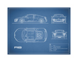 Audi R8 V10-Blue Giclee Print by Mark Rogan