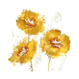 Flower Burst Trio in Amber Giclee Print by Vanessa Austin