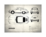 Porsche 356C White Giclee Print by Mark Rogan