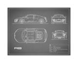 Audi R8 V10-Grey Giclee Print by Mark Rogan