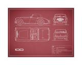 Austin-Healey 100-Maroon Giclee Print by Mark Rogan