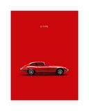 Jaguar E-Type Red Wydruk giclee autor Mark Rogan