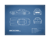 Mercedes 300SL Gullwing-Blue Giclee Print by Mark Rogan