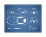 Jaguar E-Type-Blue Impression giclée par Mark Rogan