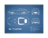 Jaguar E-Type-Blue Giclee Print by Mark Rogan