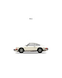 Porsche 911E 1968 White Wydruk giclee autor Mark Rogan