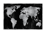 The World - Silver on Black Giclee Print by Russell Brennan
