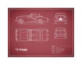 Mark Rogan - Triumph TR2-Maroon - Giclee Baskı