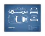 Porsche 356C-Blue Giclee Print by Mark Rogan