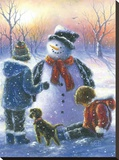 Chubby Snowman Boy & Girls Stretched Canvas Print by Vickie Wade