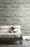 Blue Distressed Wood Peel and Stick Wall Decor - Duvar Çıkartması