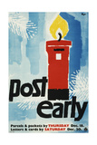 Post Early, Parcels and Packets by Thursday De 18, Letters and Cards by Saturday Dec 20 Art by Hans Unger