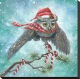 Owl Be Home for Christmas! Stretched Canvas Print by Vickie Wade