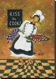 Kiss the Cook Stretched Canvas Print by Vickie Wade