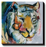 Tiger Tiger Stretched Canvas Print by Angela Maritz