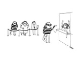 A bank robber robbing a bank with a gun on a chain like a pen, while other... - New Yorker Cartoon Premium Giclee Print by Edward Steed