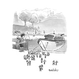 A boat basin cruise ship toy lets off tiny passengers.  - New Yorker Cartoon Premium Giclee Print by Liam Walsh