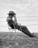 James Dean Seated Behind Fence Set of Giant 1955 Photo by  Capital Art