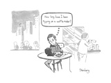 """How long have I been typing on a waffle maker"" - New Yorker Cartoon Premium Giclee Print by Avi Steinberg"