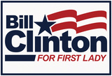 Bill Clinton For First Lady White Fan Sign Prints