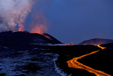 Lava Flow from Plosky Tolbachik Volcano Eruption, Kamchatka Peninsula, Russia, 5 December 2012 Photographic Print by Sergey Gorshkov