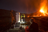 Scientists Observing Lava and Ash Plume Erupting from Fogo Volcano Photographic Print by Pedro Narra