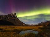 Northern Lights - Aurora Borealis over the Otertind Peaks, Troms, Norway, October 2014 Photographic Print by Espen Bergersen
