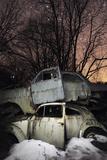Old Abandoned Cars Stacked on Atop the Other in 'Car Graveyard' at Night, Bastnas, Sweden April Fotografisk tryk