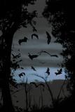Straw-Coloured Fruit Bats (Eidolon Helvum) Returning to Daytime Roost at Dawn Fotografisk tryk af Nick Garbutt